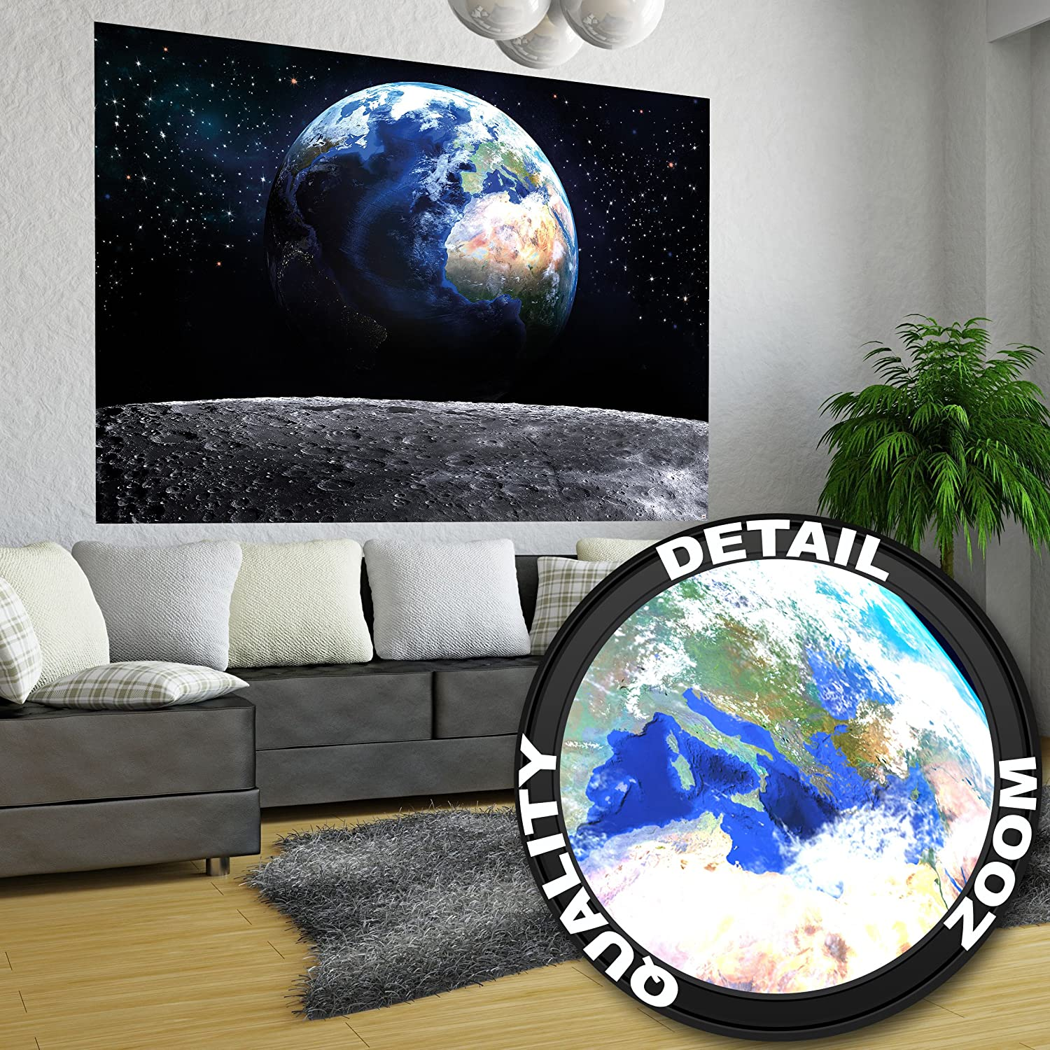 amazon com view moon to earth xxl mural the window to the earth amazon com view moon to earth xxl mural the window to the earth poster 55 inch x 39 4 inch by great art toys games