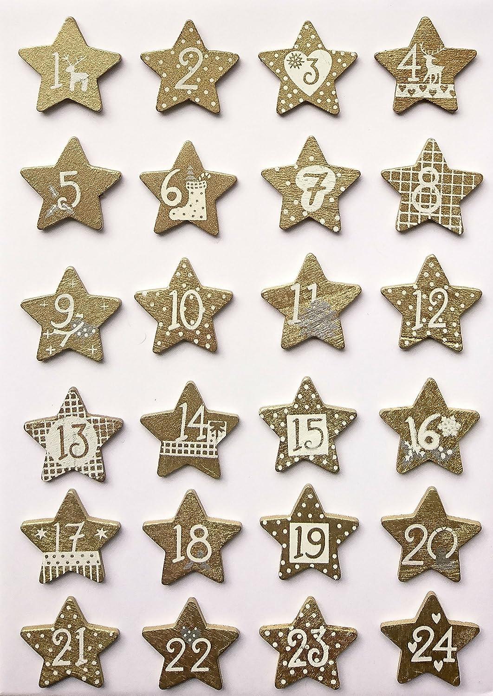 GLOREX Holzsterne Weihnachtskalender, Holz, Gold, 13 x 11,5 x 2 cm GLOREX GmbH 6 1710 123
