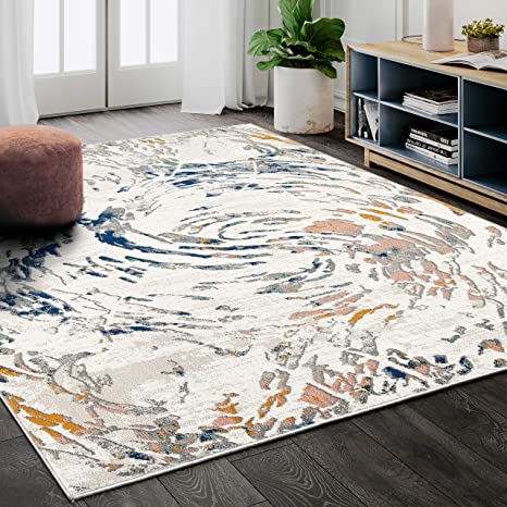 Contemporary Swirl 3 X 5 Area Rug By Abani Rugs Modern Beige Blue Porto Collection Rectangle Accent Rug Kitchen Dining