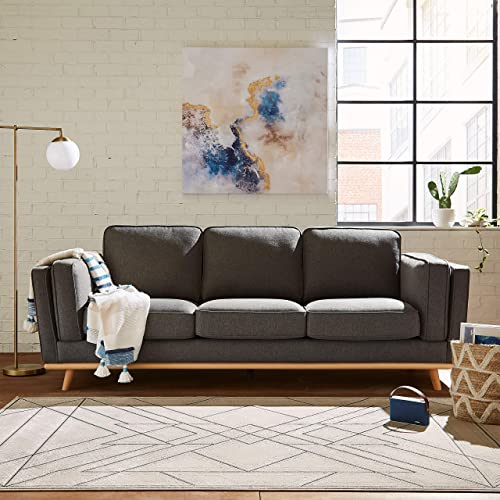 Amazon Brand Rivet Contemporary Polyester Area Rug, 5 x 8 Foot, Taupe and Grey