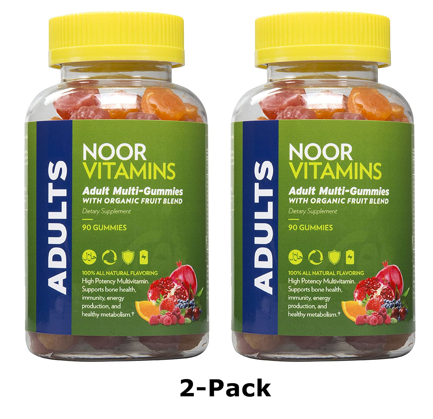 NoorVitamins 2-Pack Adult Gummy Multivitamins with Organic Fruit Blend – 90 Count Per Bottle – Halal Vitamins 2 Pack