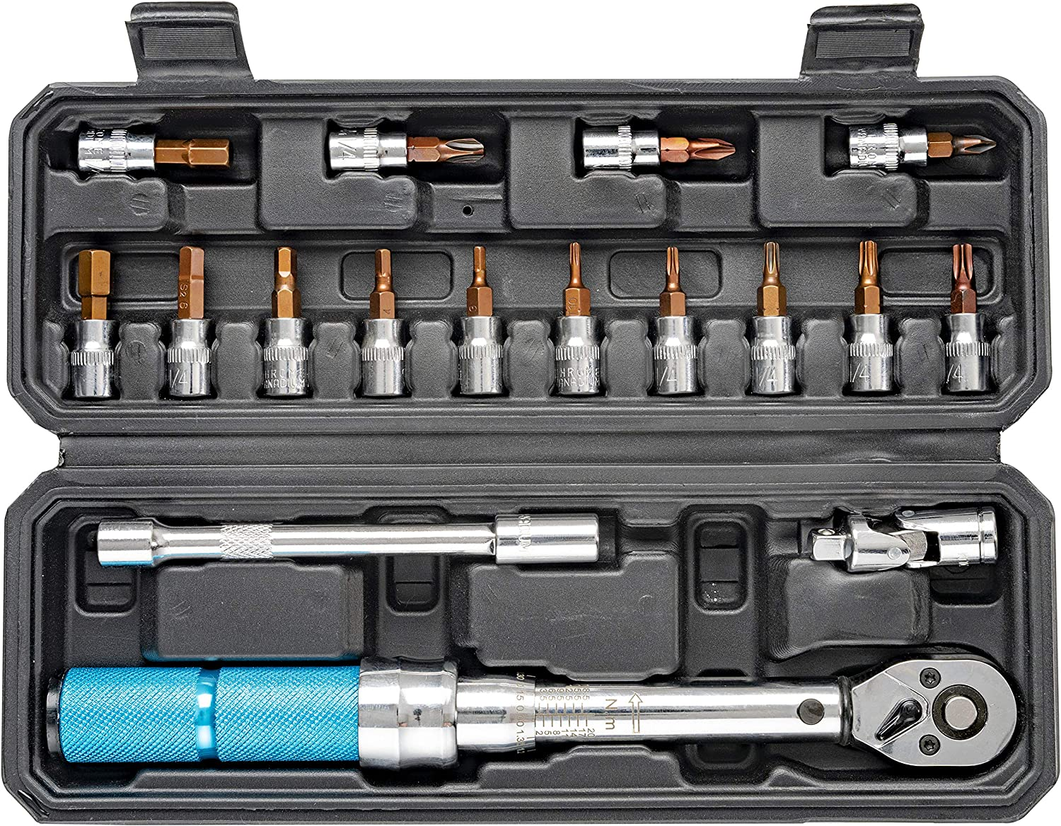 18 Piece 1//4-inch Drive Click Torque Wrench Set Dual-Direction Adjustable 72-tooth Torque Wrench with Buckle 2-20 N.m.