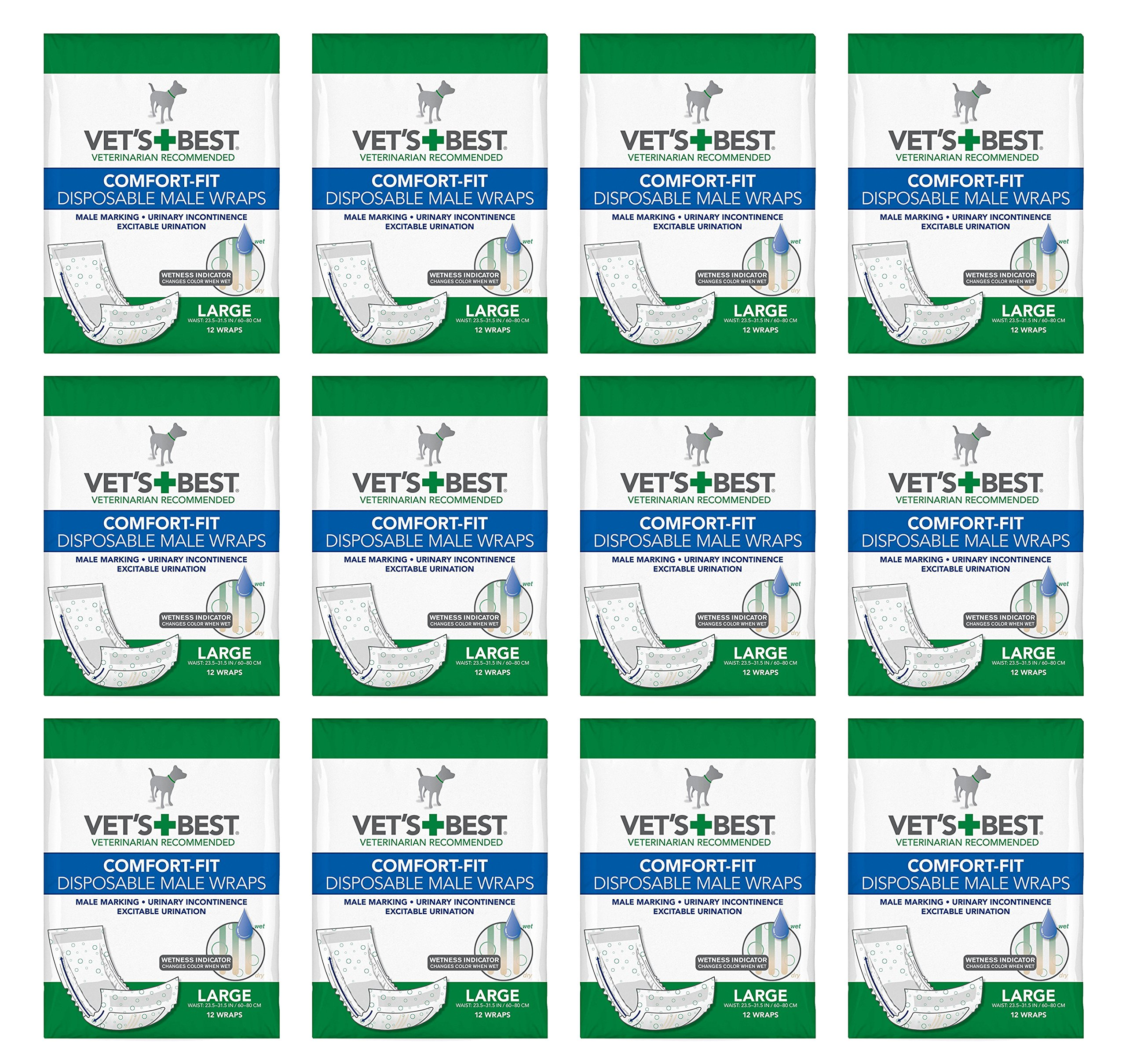 Vet's Best Comfort-Fit Disposable Male Wraps Large (12x12ct) (144 count)