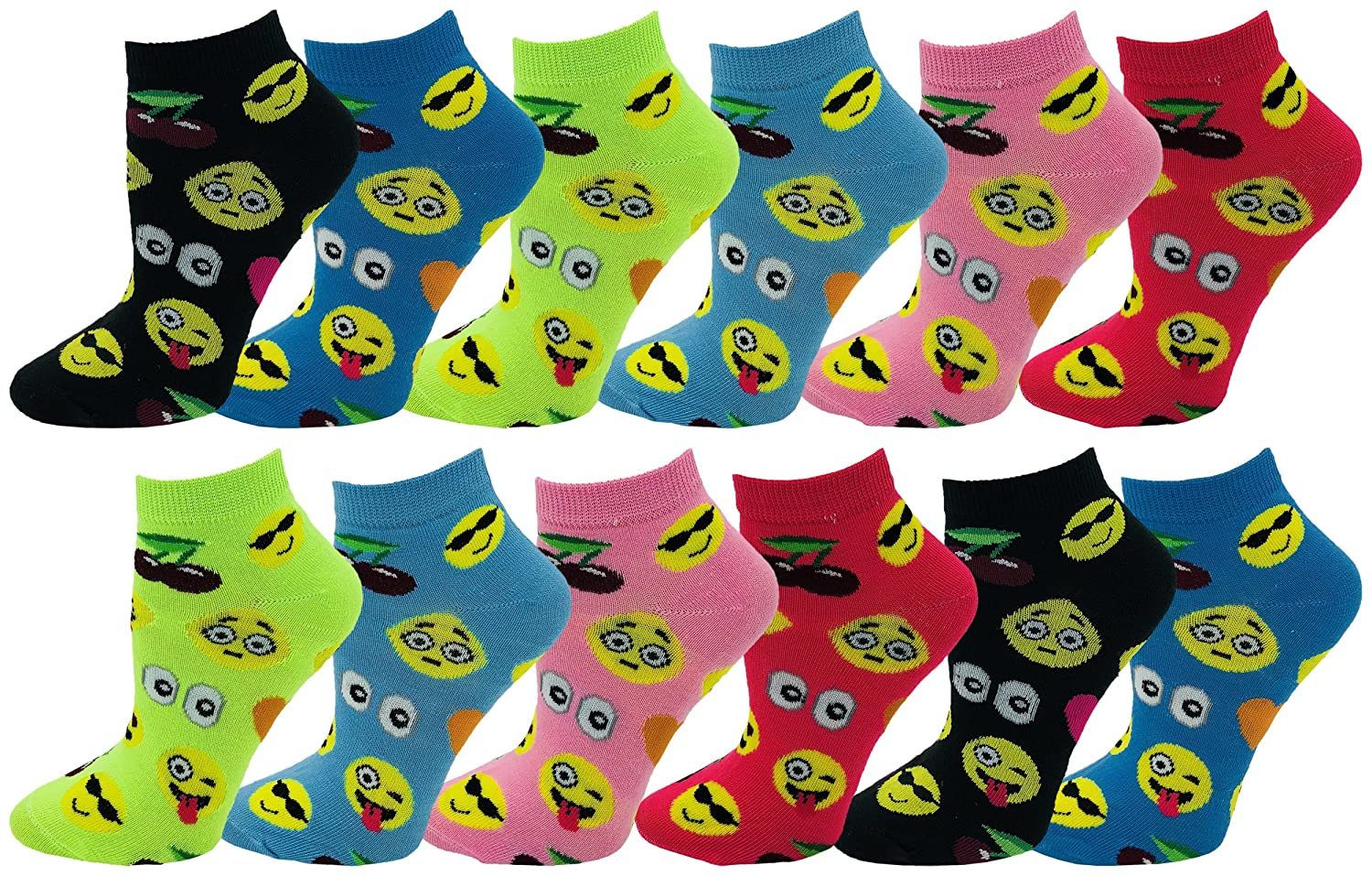 Emoji Socks, 12 Pairs, Womens or Girls, Fun Cute Crew or Ankle Sock, colorful Smiley Emoticon Design, Soft Novelty Bulk Pack