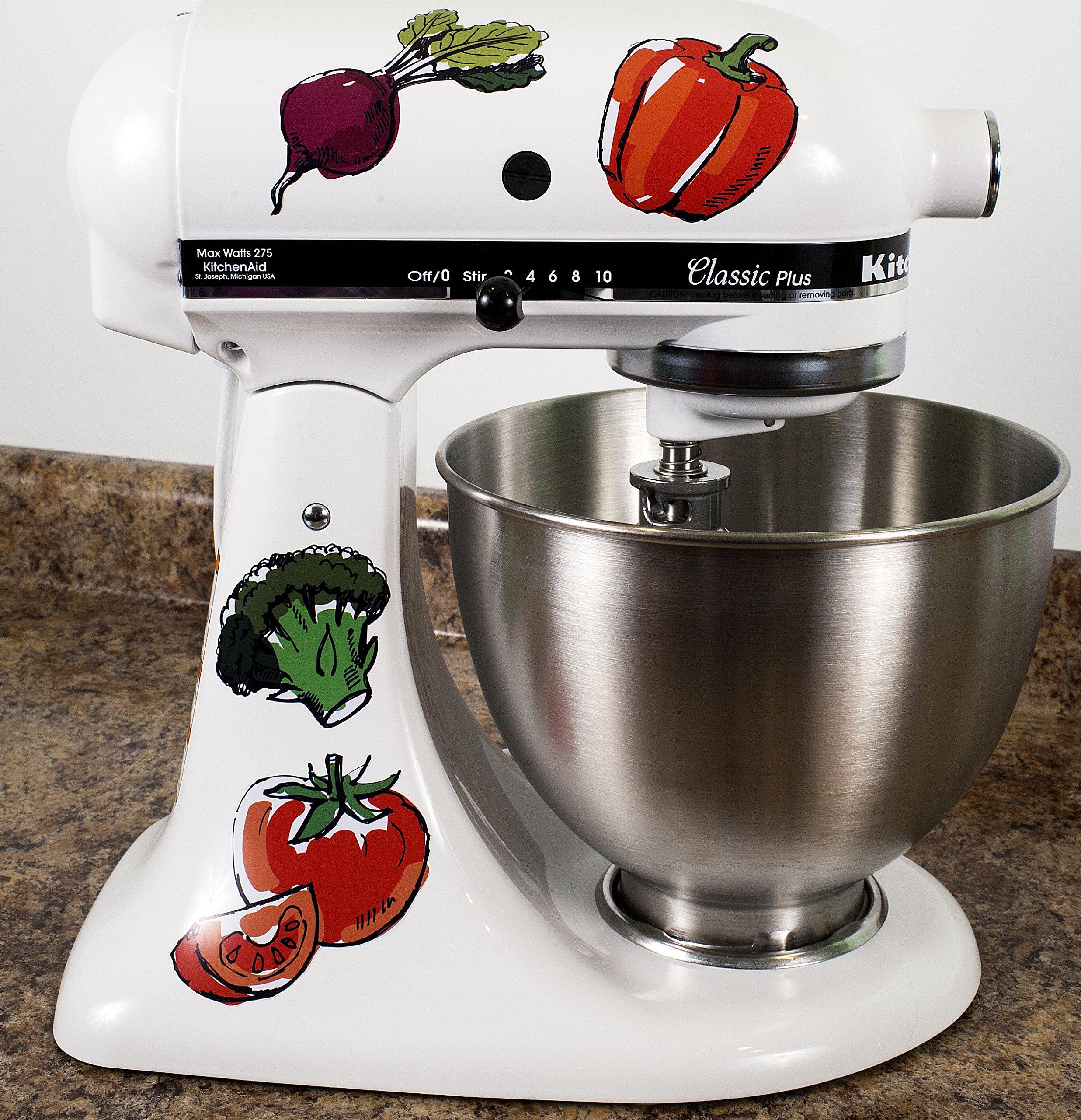 Watercolor Vegan Fresh Veggies Decals for Kitchen Mixer