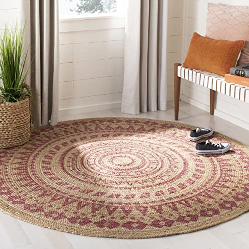 Safavieh Natural-Fiber Round Collection NF802P Hand-Woven Bohemian Area Rug
