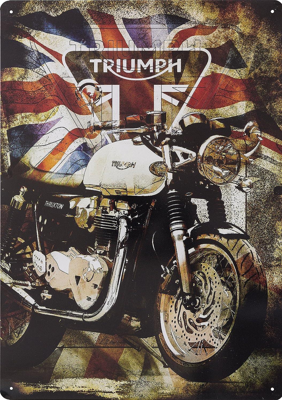 Original Metallschild mit Union Jack-Flagge f/ür Triumph Motorr/äder