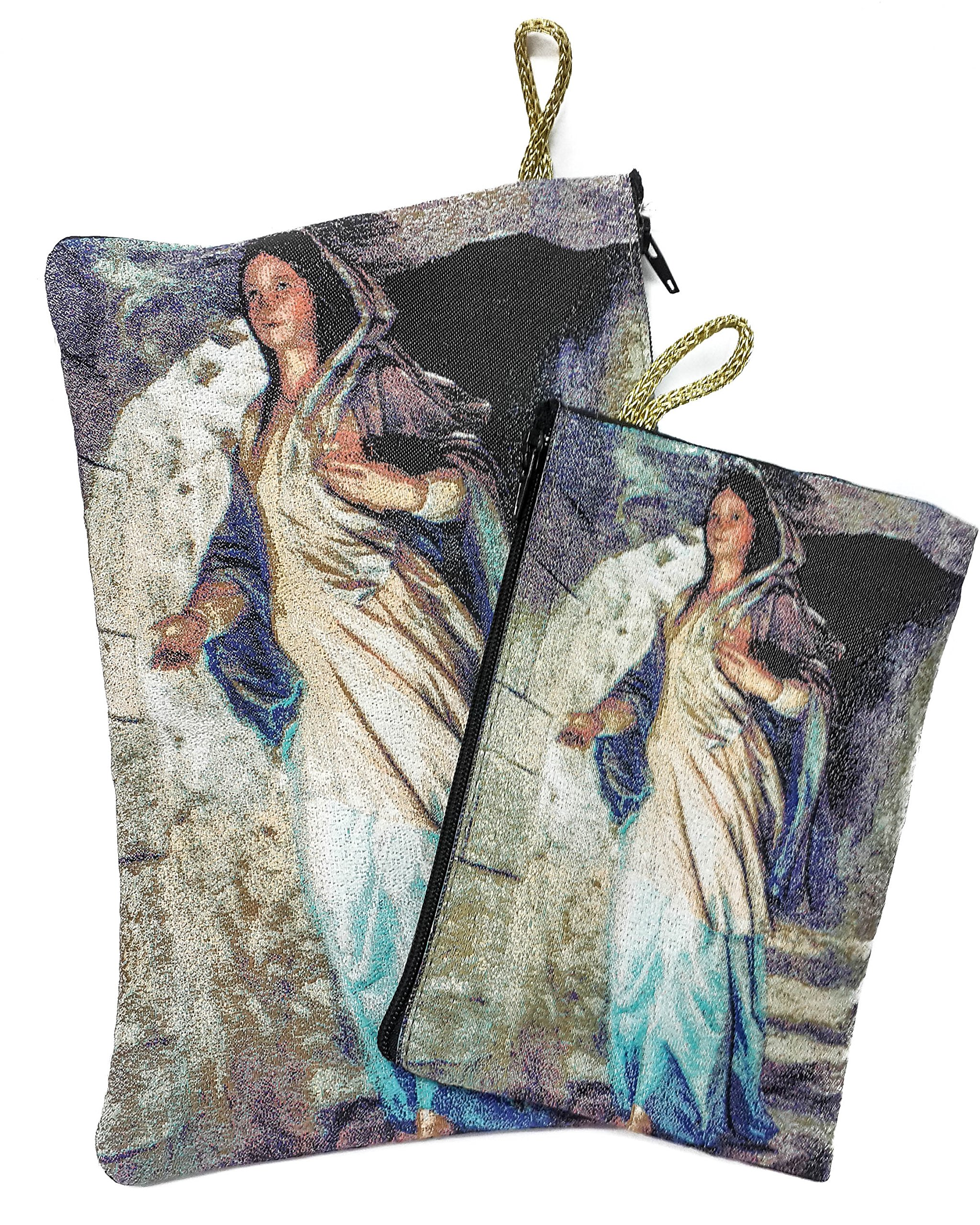 Set Madonna Virgin Mary Rosary Icon Pouch Tapestry Keepsake Pray Case Jerusalem by Nazareth Market Store