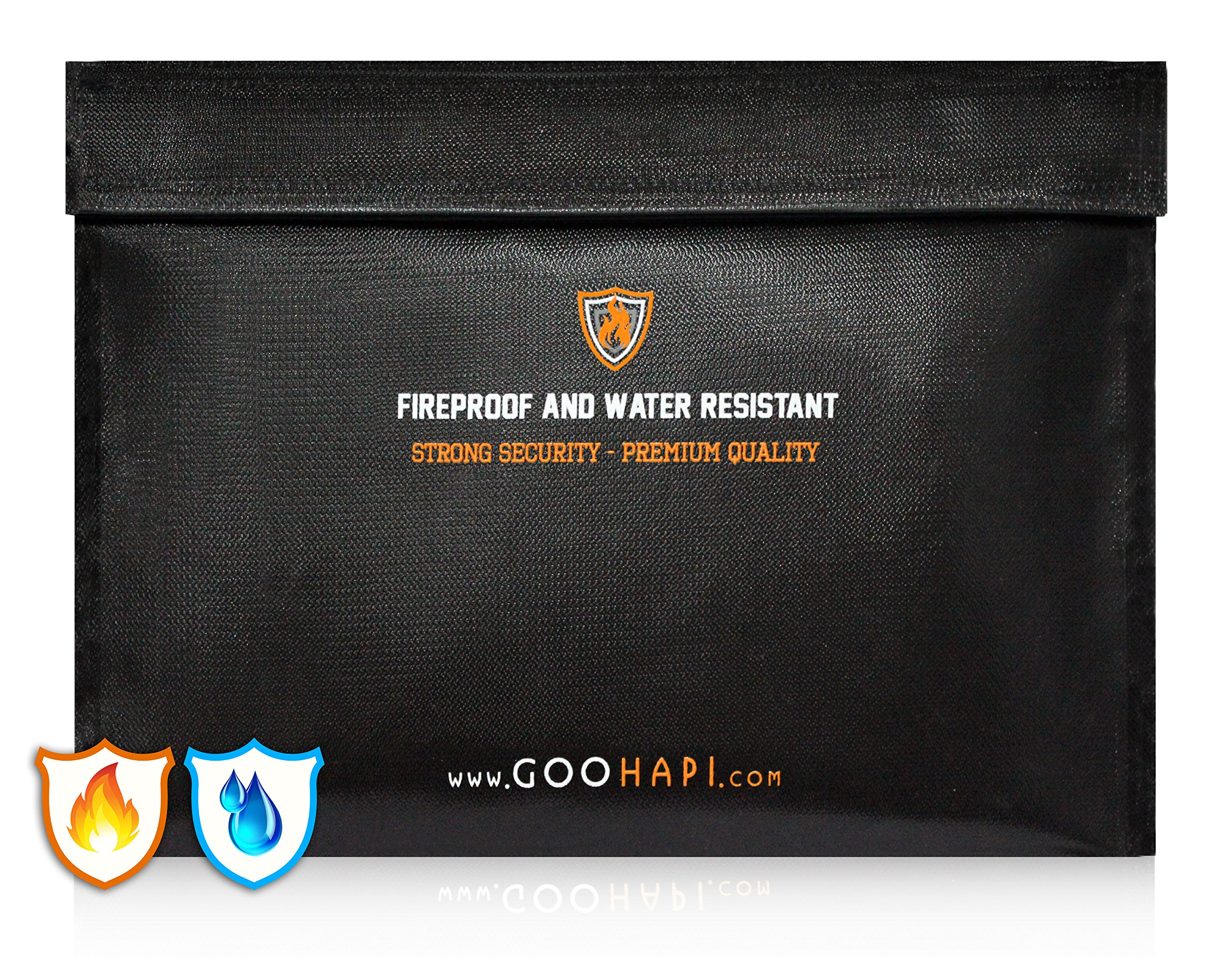 "Goohapi Premium Fireproof Bag (15.3""x11"") Fire Resistant Document Holder 