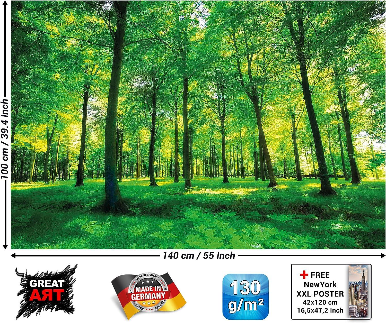 GREAT ART XXL Poster – Árboles – Mural Naturaleza Paisaje Puro Bosque Claro Relajación De Verano Planta De Sol Flora Bosque Helechos Rama Cartel De La Decoración Y Foto (140 X 100