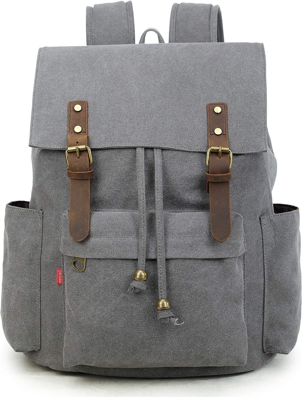La Packmore Canvas Backpack Vintage Rucksack Daypack Bookbag Drawstring Bag Knapsack for School College Fits Up To 17 Inch Laptop (Grey)