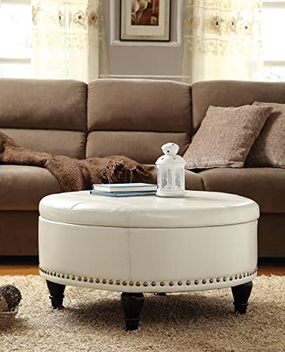 INSPIRED by Bassett Augusta Eco Leather Round Storage Ottoman with Brass Color Nail Head Trim and Deep Espresso Legs, Cream