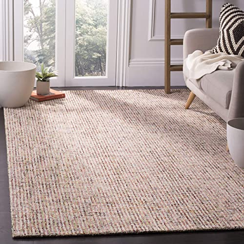 Safavieh Abstract Collection ABT468A Contemporary Handmade Beige and Rust Premium Wool Area Rug 4 x 6