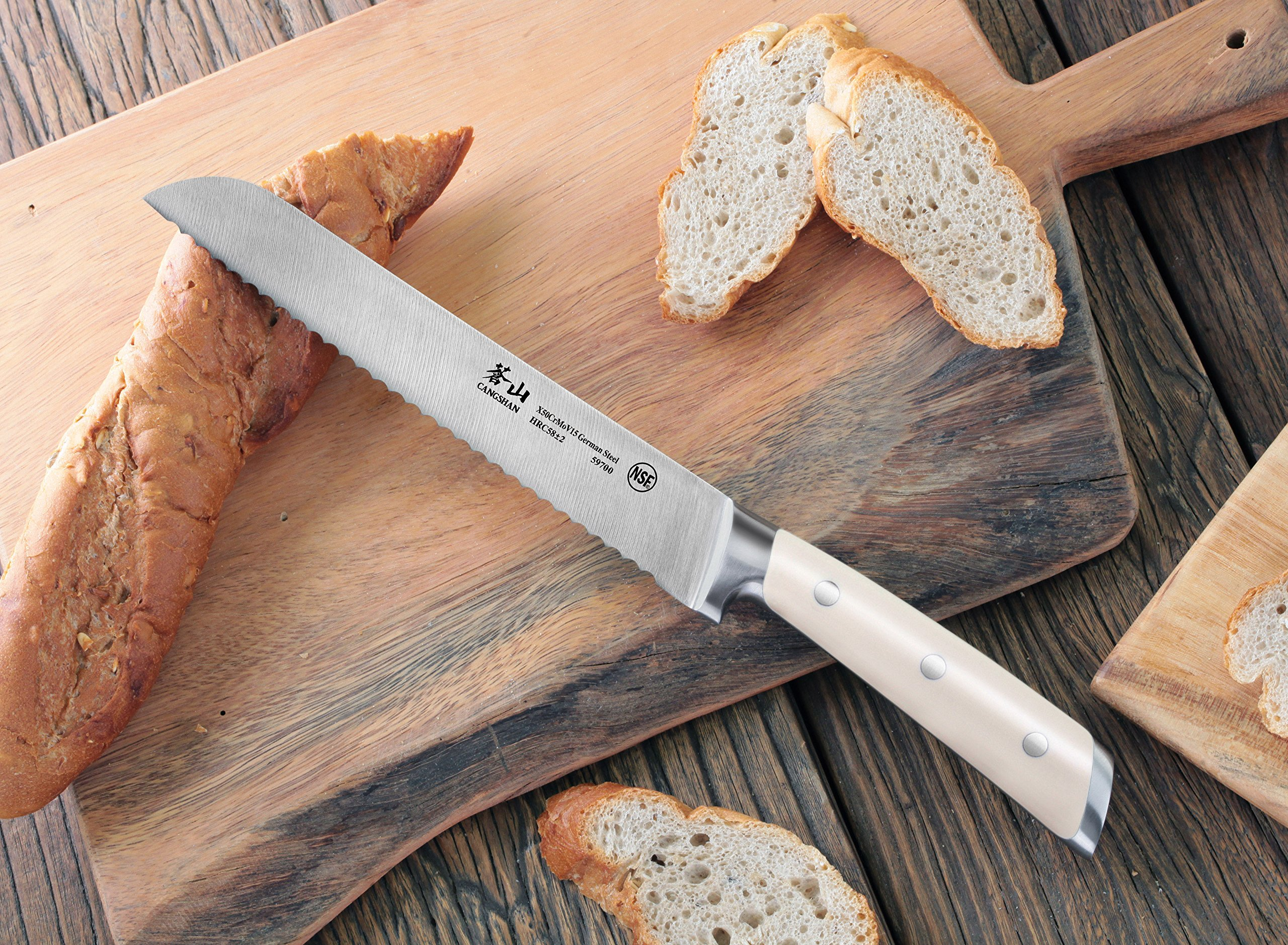 Cangshan S1 Series 59700 German Steel Forged Bread Knife, 8-Inch 7 Patent Pending Design knives that focuses on ergonomics handle with unique creme color Well balanced 5.5-inch handle and 8 blade X50Cr15MoV German Steel with HRC 58 +/- 2 on the Rockwell Hardness Scale
