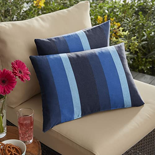 Mozaic AMPS116885 Indoor Outdoor Sunbrella Lumbar Pillows, Set of 2 12 x 18 Blue Stripes