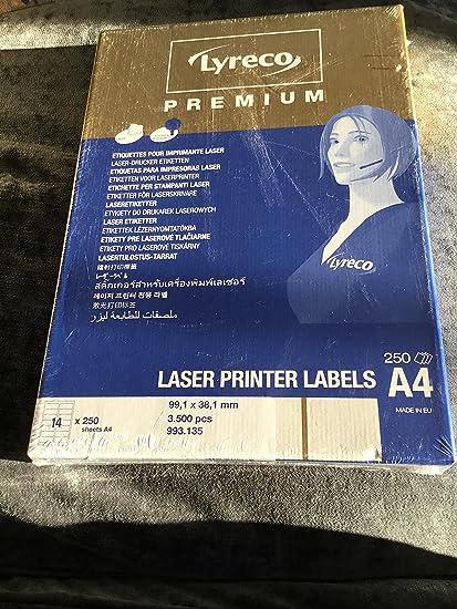 Lyreco - Etiquetas para impresora láser: Amazon.es: Oficina y ...