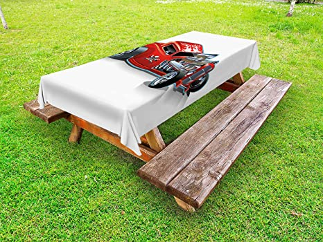 Lunarable Cartoon Outdoor Tablecloth, Race Car Engine Speedy Dangeous Full  Of Adrenaline Pilot Image Artwork