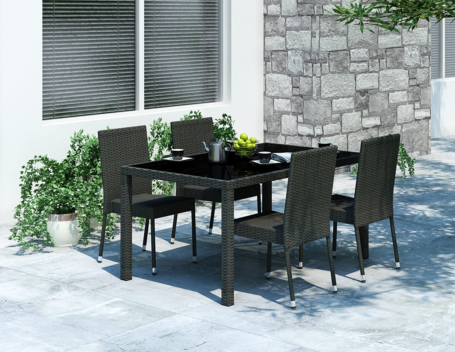 CorLiving PPT-602-T Sonax Park Terrace Patio Dining Table in Charcoal Black Weave