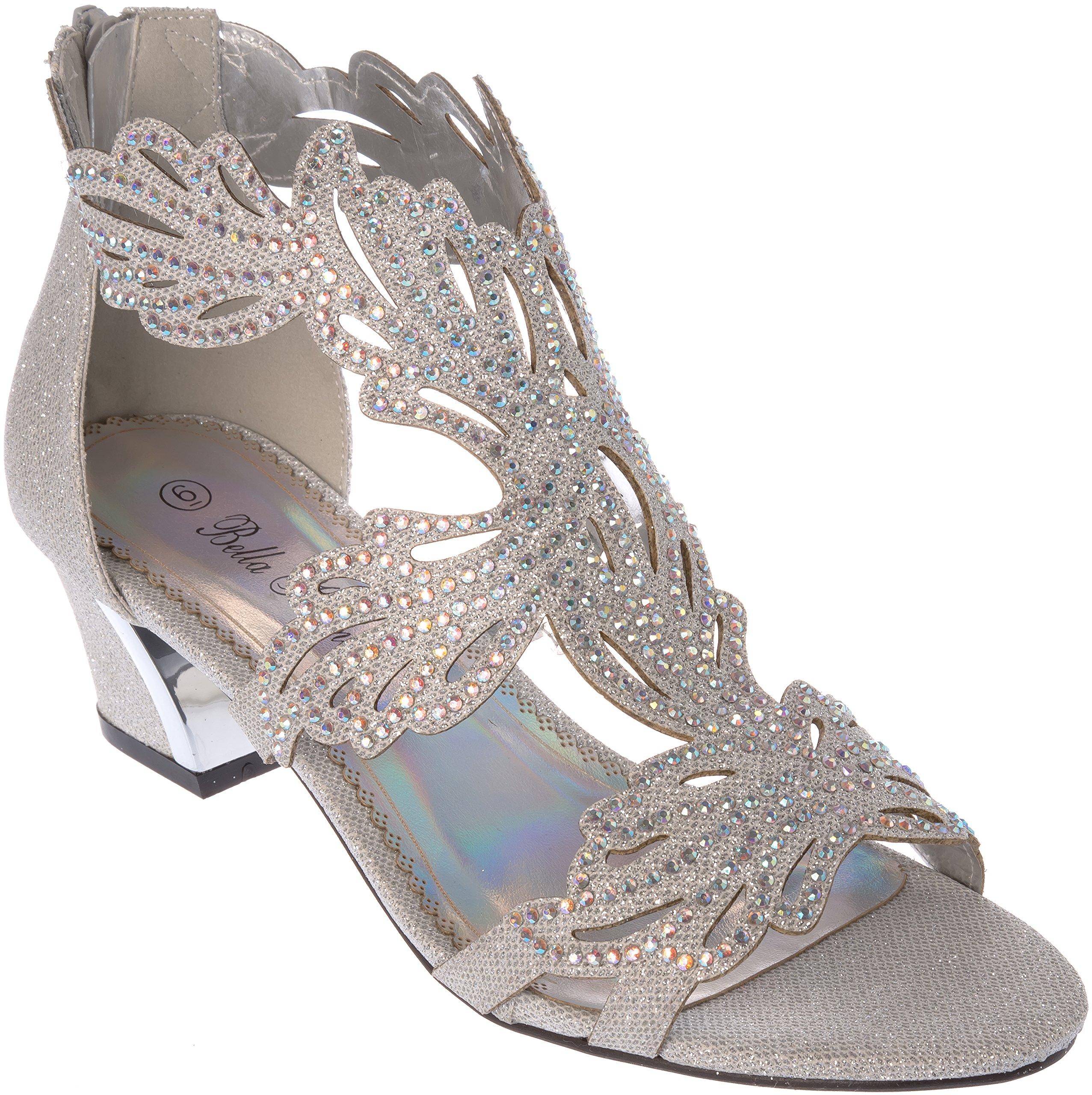 Shoes Picker lime03 Women Evening Sandal Rhinestone Silver Dress-Shoes Size 7.5