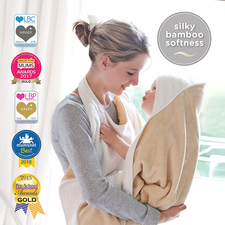 The Original Cuddledry Hands Free Baby Apron Bath Towel (Blue Edge) WCBL01