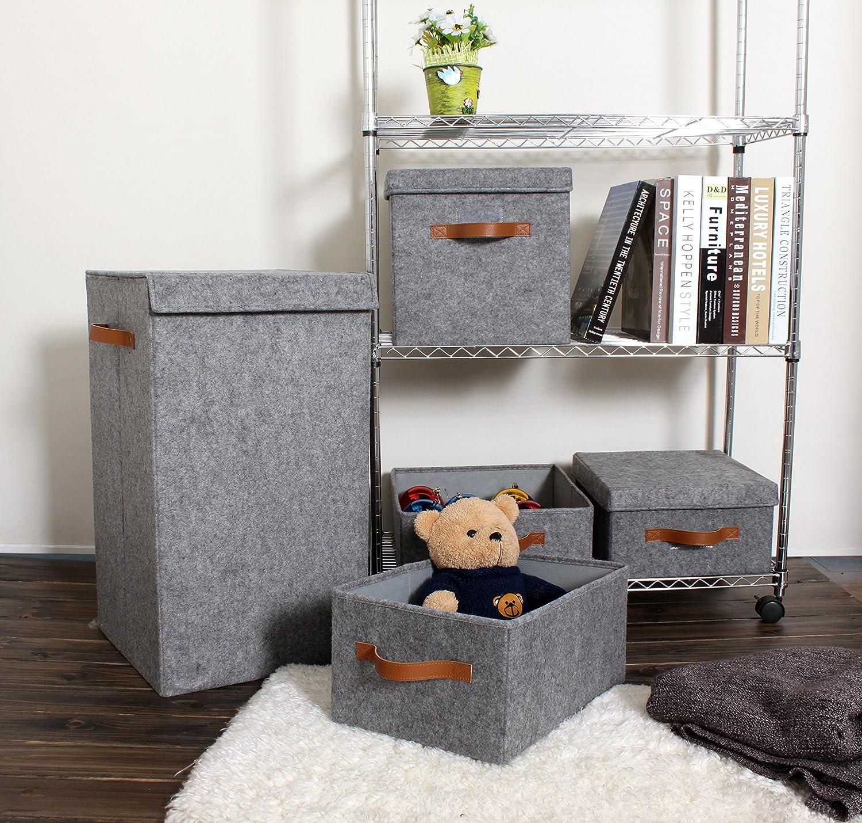 Beige Foldable Storage Basket Bin Container Drawer Organizer 2pk ITIDY Storage-Cube-Box