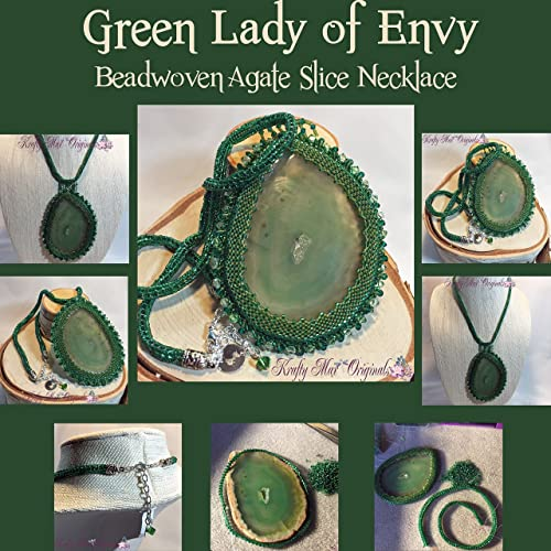The Green Lady of Envy - Handmade Beadwoven Agate Slice Necklace