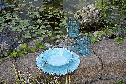 Mit Antislip Gimex Set Opale Teiliges Line Campinggeschirr Melamin Geschirr Azur Oder Stone 12 PXZiukO