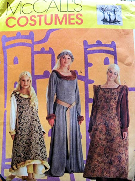 McCall\'s 8826 Misses Medieval Dress Costumes Sewing Pattern Size 10 ...