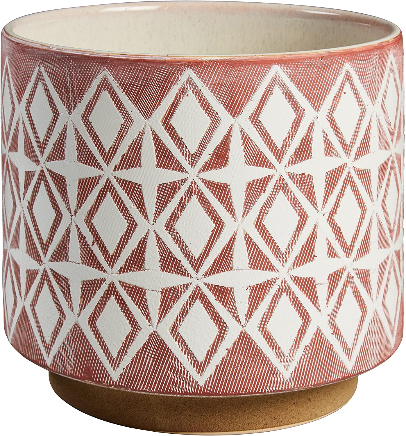 "Amazon Brand – Rivet Modern Geometric Ceramic Planter, 8.6""H, Rose"