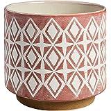 "Amazon Brand – Rivet Modern Geometric Ceramic Planter, 8.6""H, Rose"