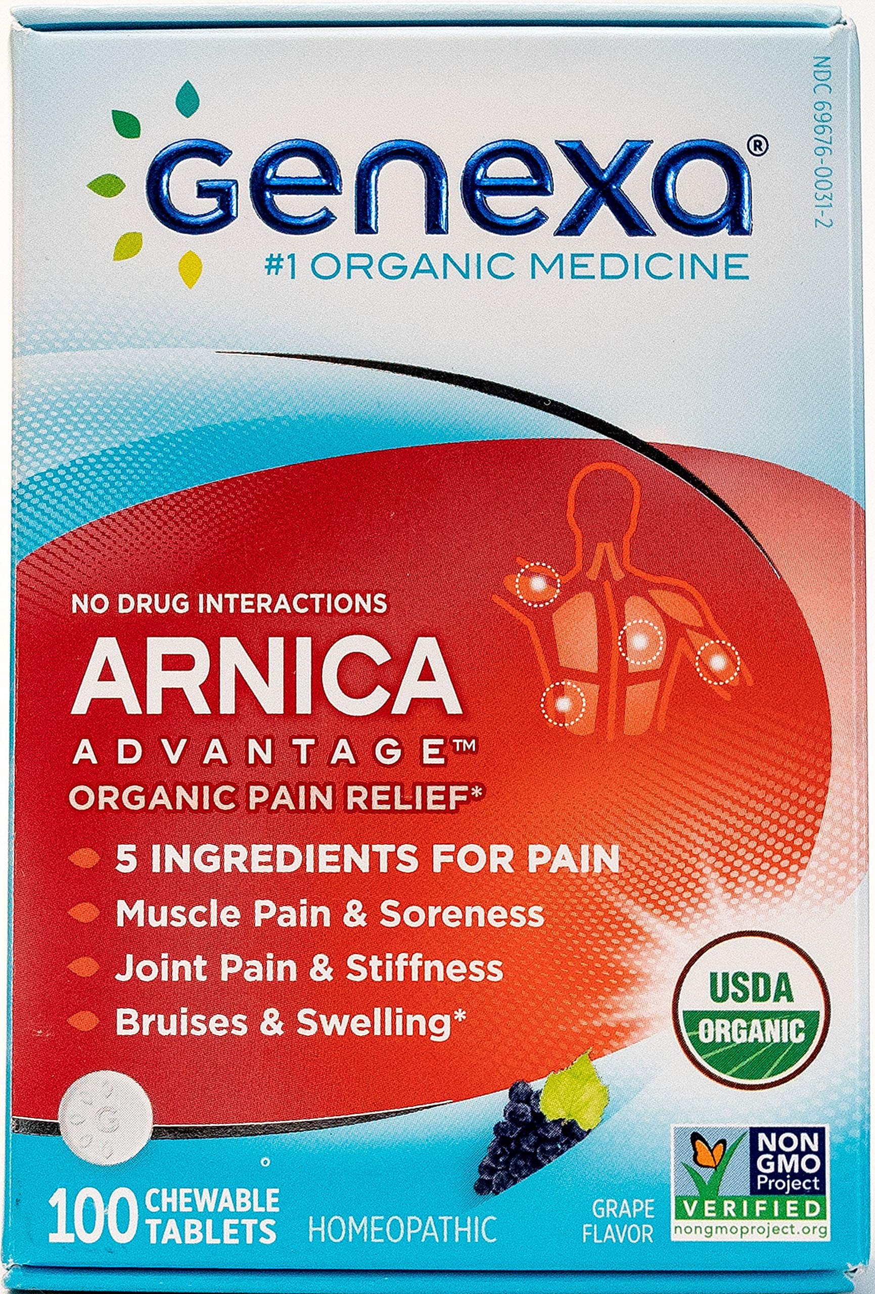 Genexa Arnica Pain Relief: Certified Organic, Homeopathic, Physician Formulated, Natural, Non-GMO Verified. Pain Reliever for Muscle, Joint & Back Pain, Swelling, Bruising (100 Chewable Tablets)