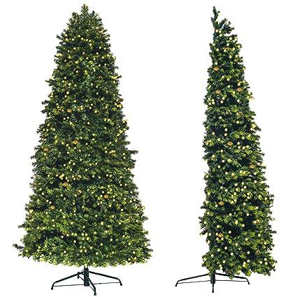 rbol de navidad artificial de pared premium medio rbol para ahorrar espacio luces led - Arbol De Navidad Artificial