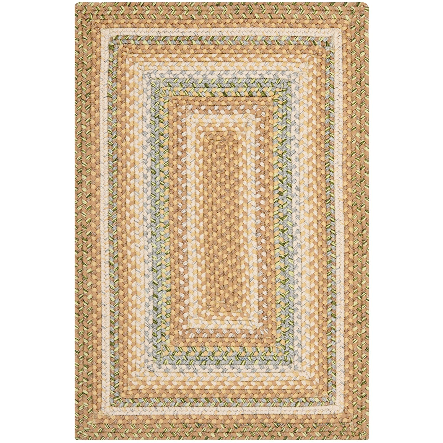 BRD314A-2 Safavieh Braided Collection BRD314A Hand Woven Tan and Multi Area Rug 2 x 3