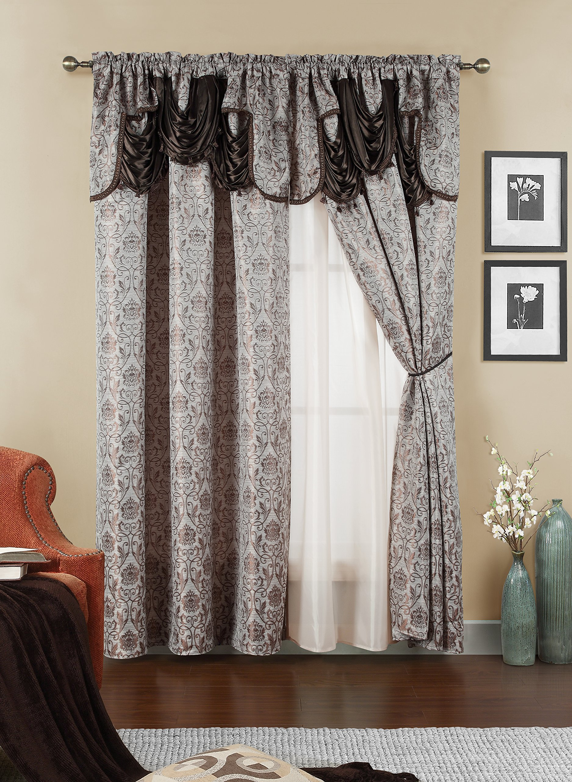 Elegant Home Beautiful Window Curtain Drapes All-in-One Set with Attached Valance & Sheer Backing for Living Room, Bedroom, Dining Room, and Sliding Doors (No Tie Back) - Ehjen (Brown)