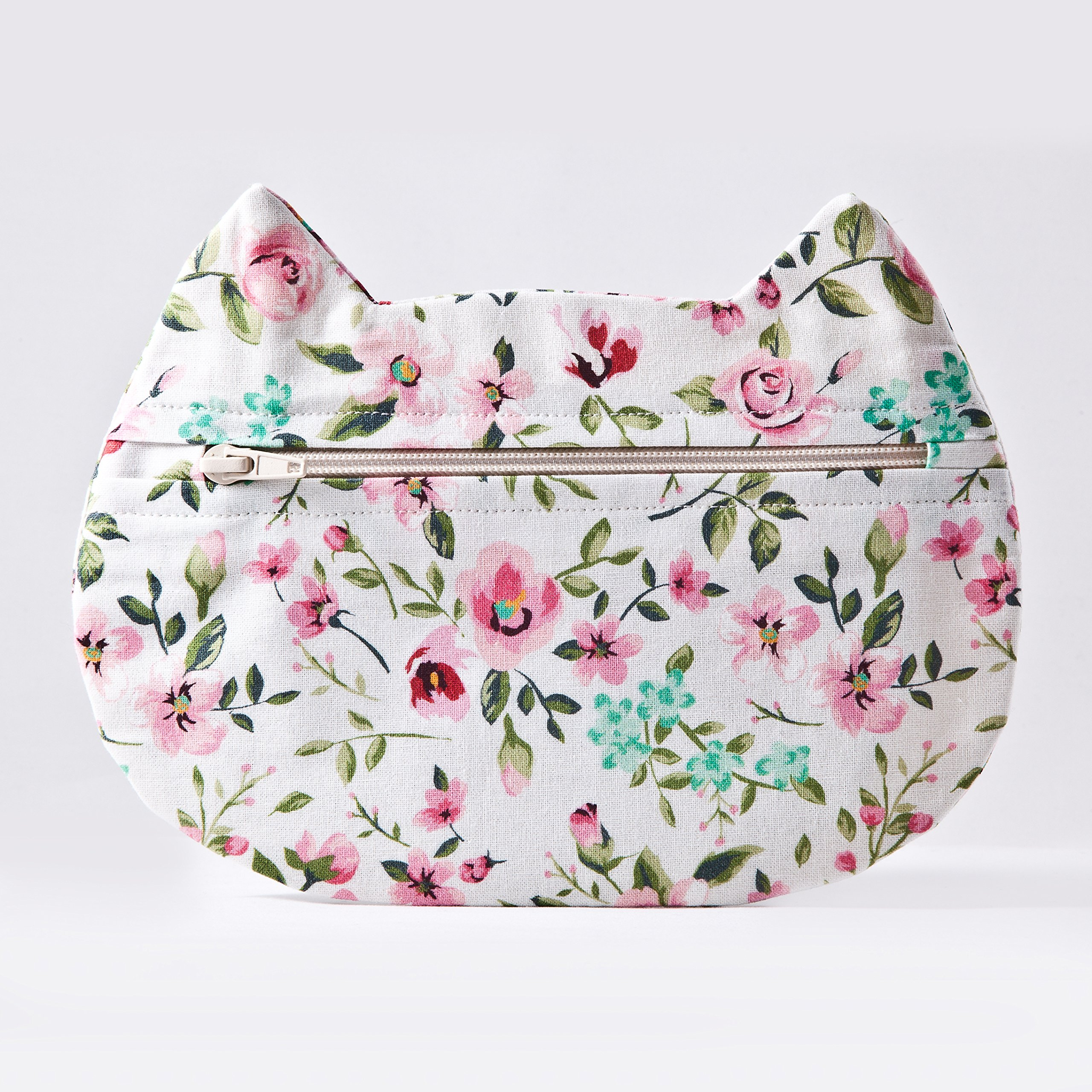 White Floral Cosmetic Bag, Cat Makeup Bag, Pencil Case, Gifts for Travelers, Gray Toiletries Bag, Beauty Bag