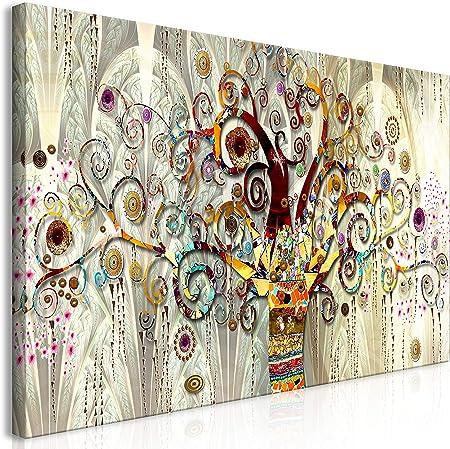 murando Cuadro en Lienzo Gustav Klimt 140x70 cm 1 Parte Impresión en Material Tejido no Tejido Impresión Artística Imagen Gráfica Decoracion de Pared Arbol Piedras Arte l-A-0033-b-a