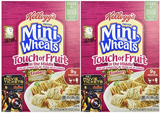 Amazon.com: Kelloggs Frosted Mini Wheats Touch of Fruit Raspberry Cereal, 15 Ounce: