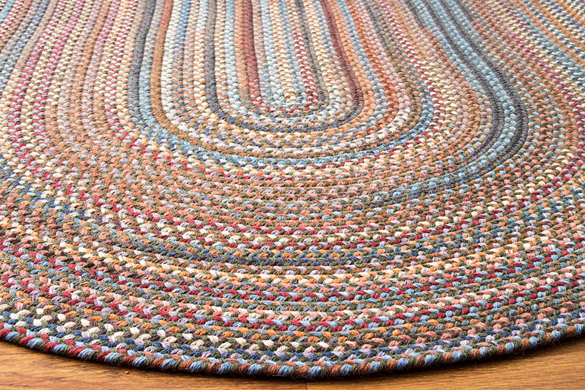 Super Area Rugs, Tribeca Textured Braided 100% Wool Rug Thick & Soft Green Casual Carpet, 5 X 8 Oval