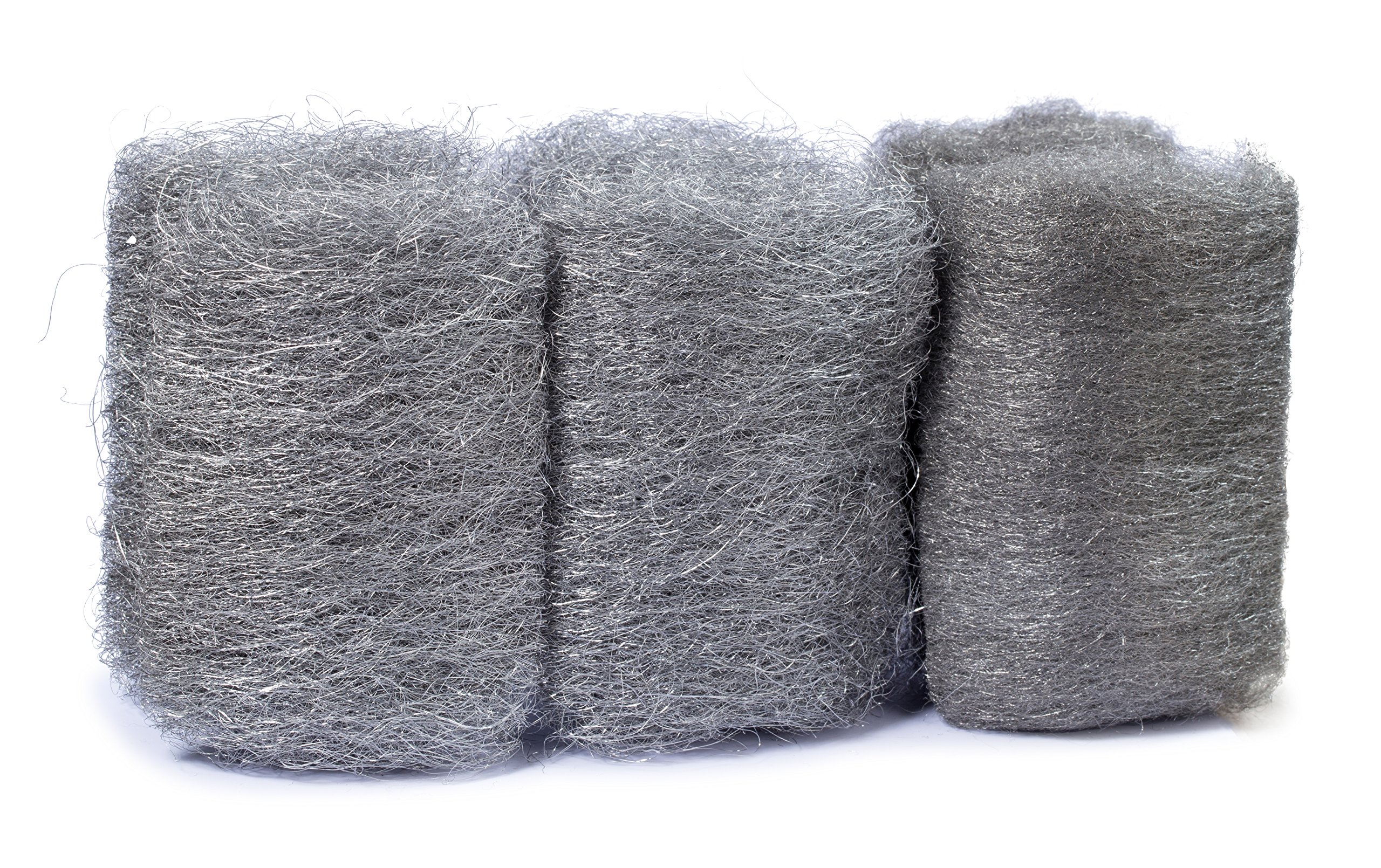 12 Pads Steel Wool Assortment, Multi-Grade Pack, Very fine, Medium, and Coarse, high-Quality scouring Pad for mice, cast Iron, Dishes, pots, Pans and All-Purpose.