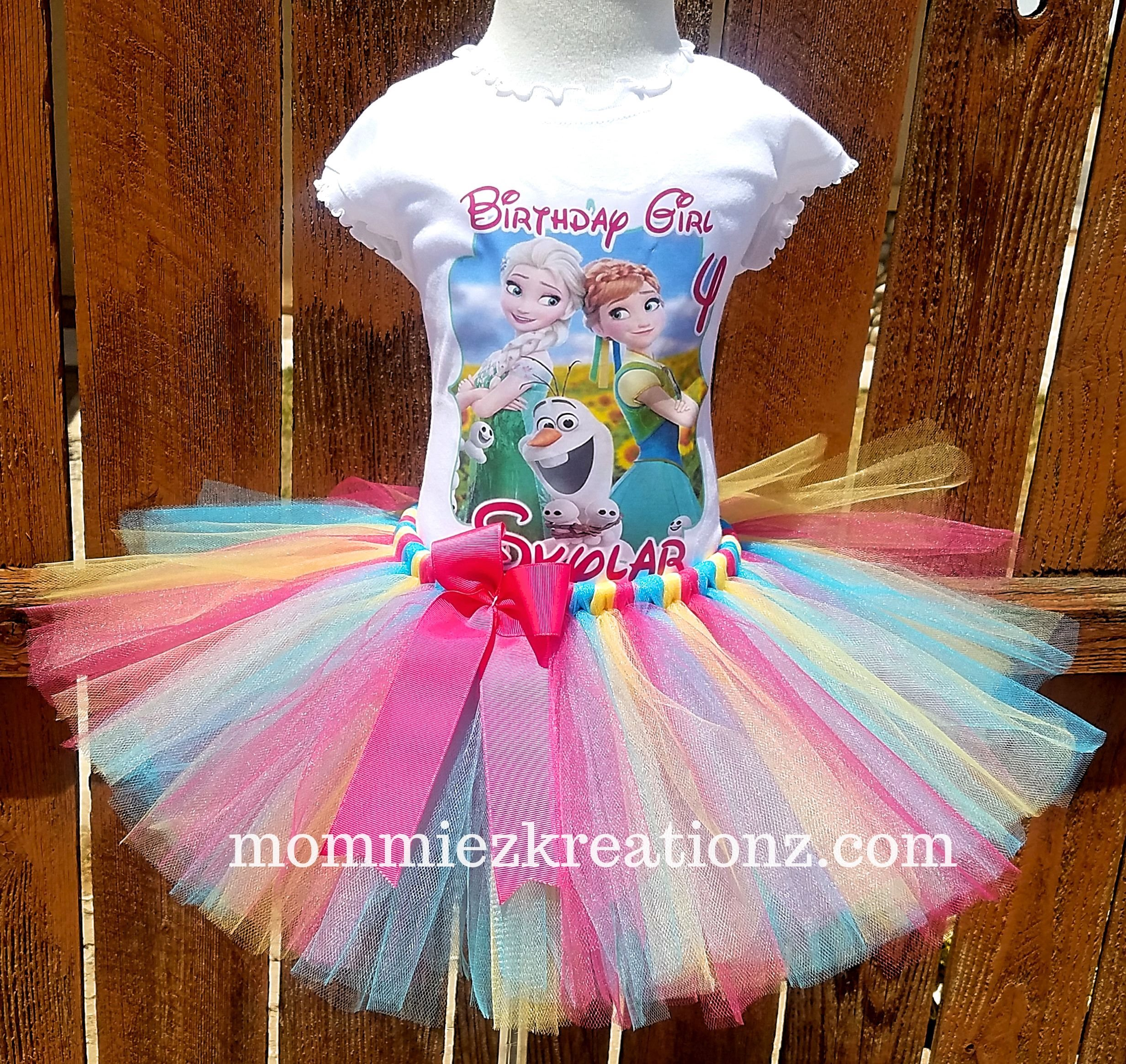 Frozen Tutu Set, Elsa & Anna Birthday Outfit,Snow Queen Tutu, Forever After Tutu