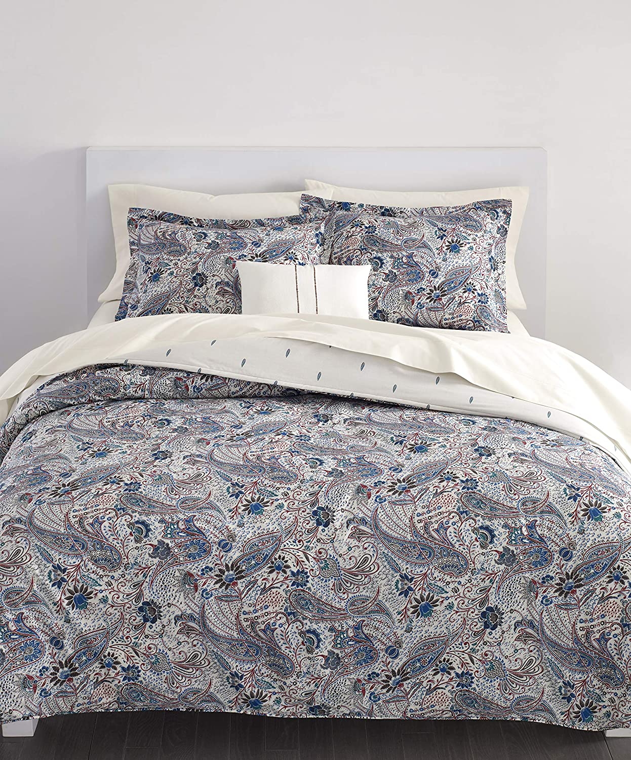 Chaps Home Woodlawn Paisley 100% Cotton Printed 3-Piece Reversible, Highly Breathable Comforter Set, King, RED Multi