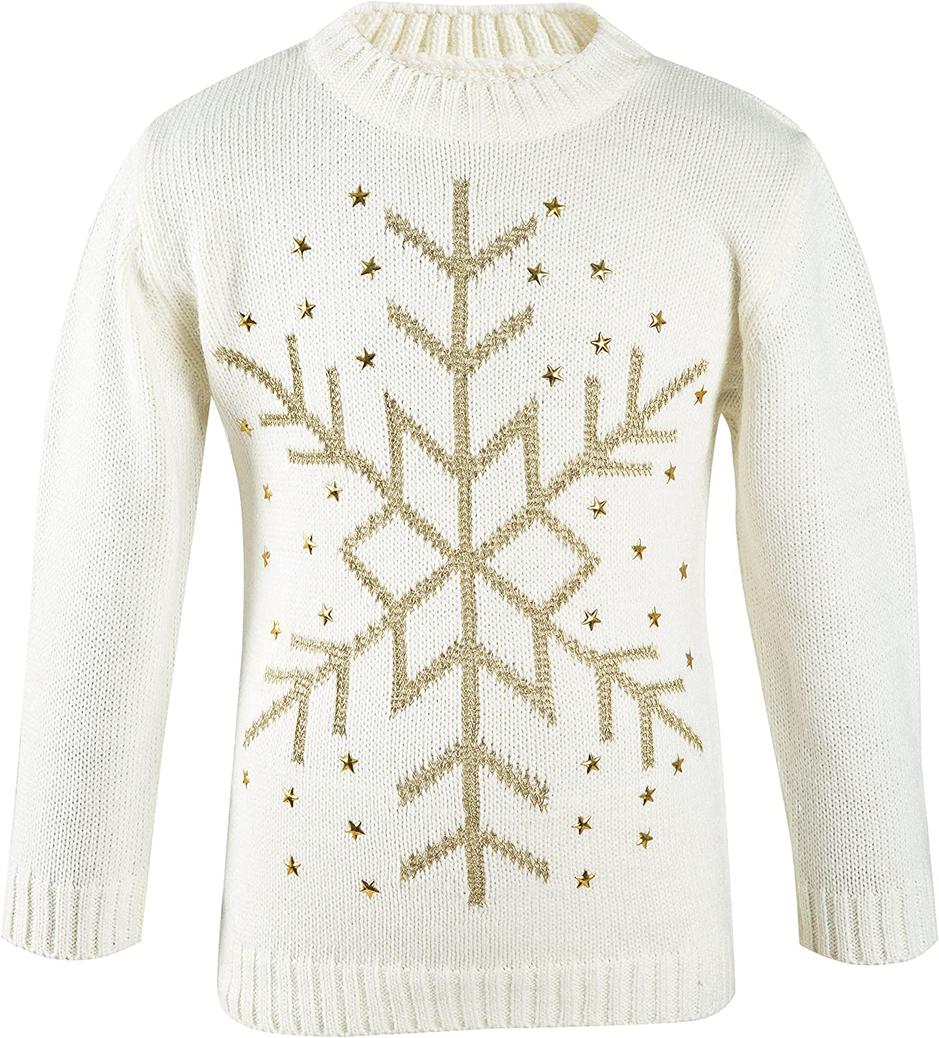 Lilax Little Girls Snowflake Long Sleeve Star Knit Sweater