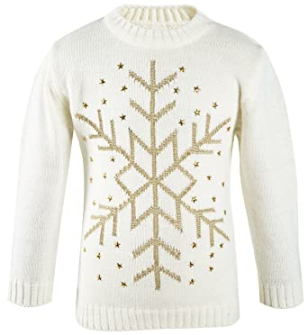 Lilax Little Girls  Snowflake Long Sleeve Star Knit Sweater 2T Cream 3df758a67ee2