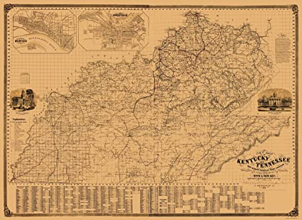 Amazon Com Old State Map Kentucky Tennessee Campbell 1861 23