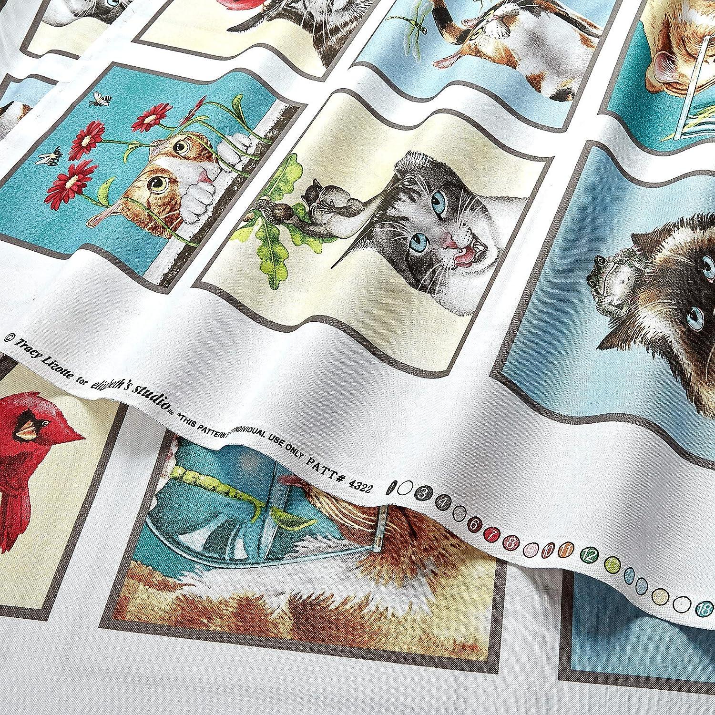 "Elizabeth/'s Studio Curious Cats by Tracy Lizotte 4322 Cream Cat Blocks 24/"" Panel"