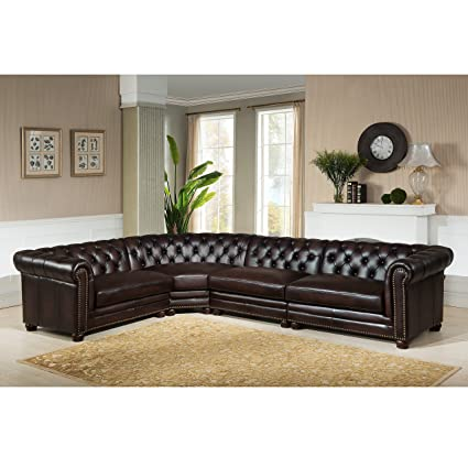 Amazon.com: Hydeline Kennedy 100% Leather 4 Piece Sectional ...