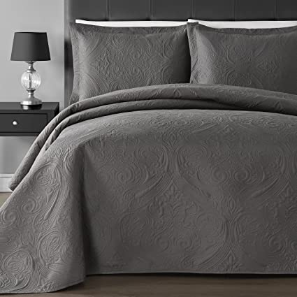 Good Comfy Bedding Extra Lightweight And Oversized Thermal Pressing Floral  3 Piece Coverlet Set (King