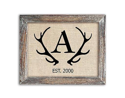 Antler Monogram Sign on Authentic Burlap Fabric, Optional Barnwood Frame, Farmhouse, Deer or Stag Decor