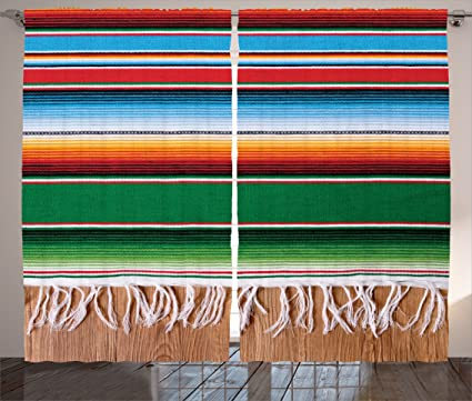 Ambesonne Mexican Decorations Curtains Boho Serape Blanket With Horizontal Stripes And Lines Authentic Picture