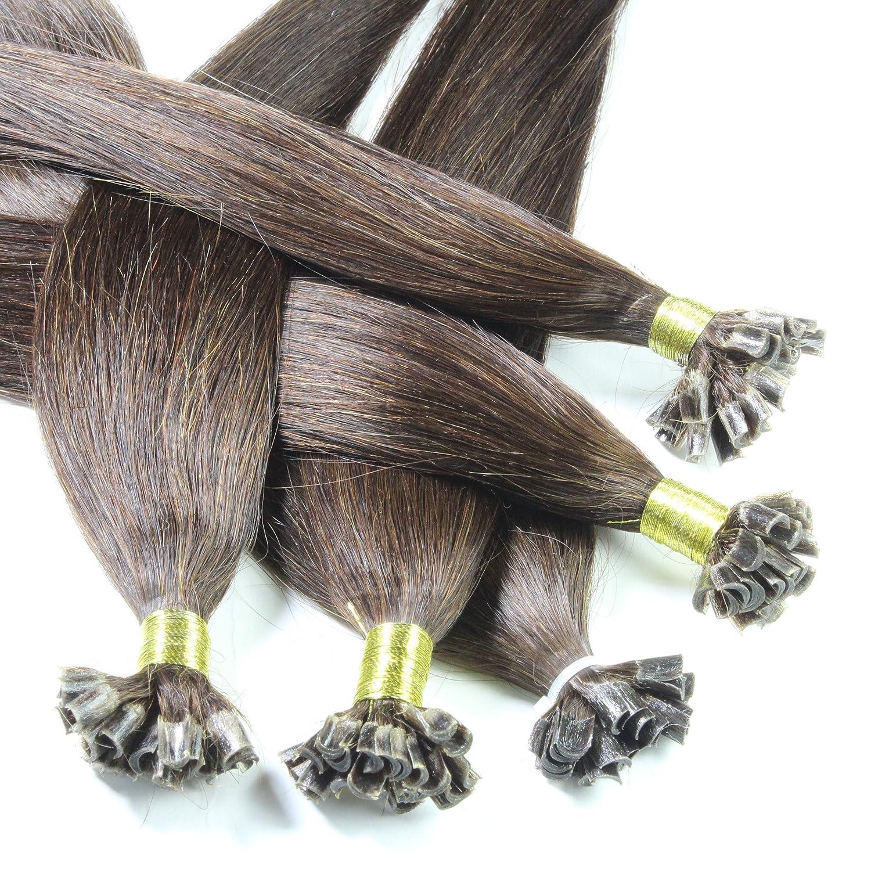 hair2heart 25 x Bonding Extensions aus Echthaar, 50cm, 0,5g Strähnen, glatt - Farbe rot 5g Strähnen A0243